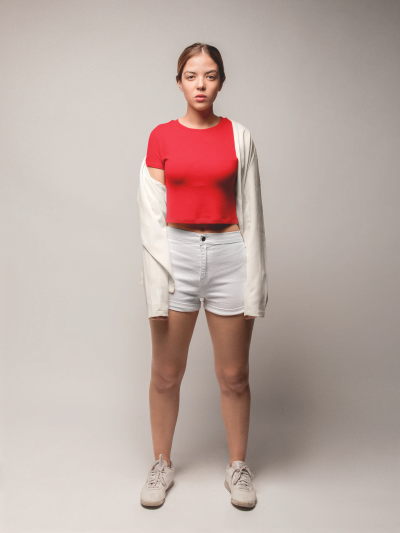 Buy Red Crop Top Wore by a Model