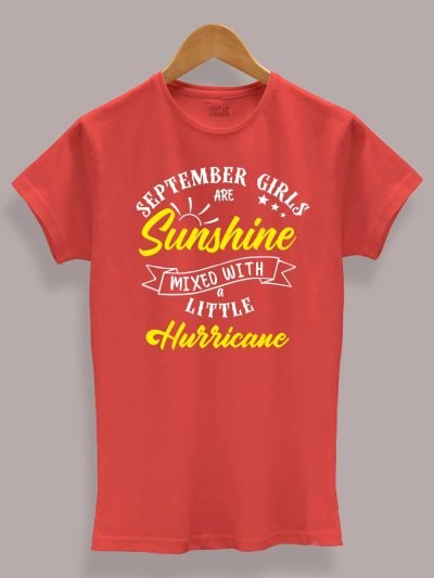 Buy Sunshine and Hurricane Women's Birthday T-shirt displayed on a hanger