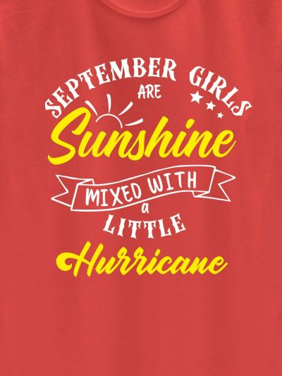 close up of Sunshine and Hurricane Women's Birthday T-shirt design