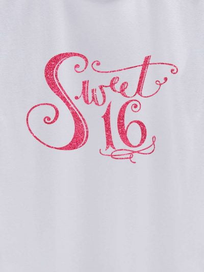 close up of Sweet 16 Birthday T-shirt design