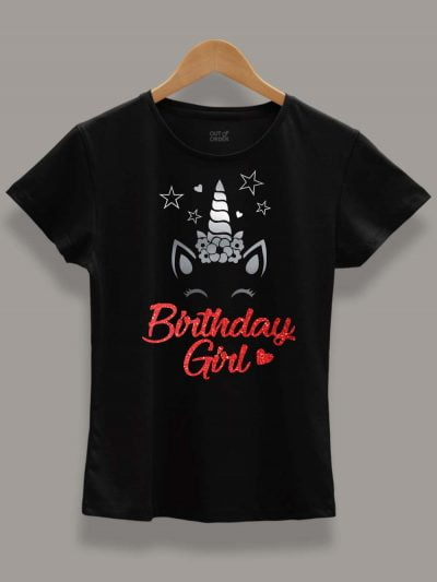Buy Unicorn Birthday Girl T-shirt displayed on a hanger