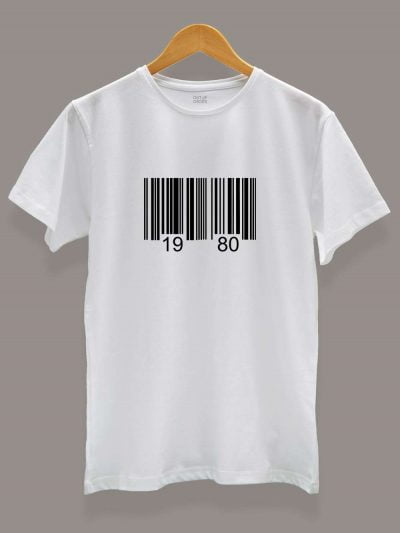 Buy Barcode Birthday T-shirt for Men displayed on a hanger