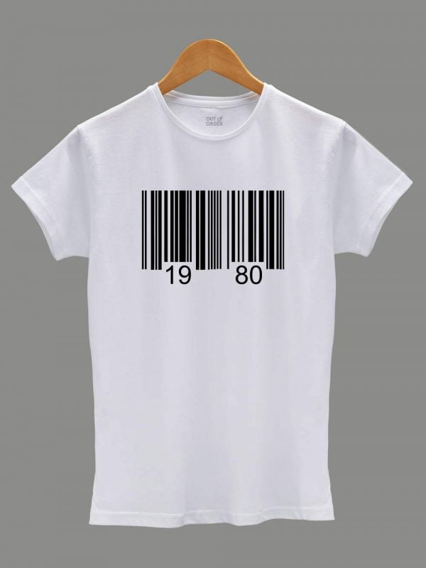 Buy barcode birthday t-shirt for women displayed on a hanger