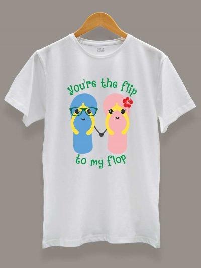 Buy Flip Flop Couple T-shirt displayed on a hanger