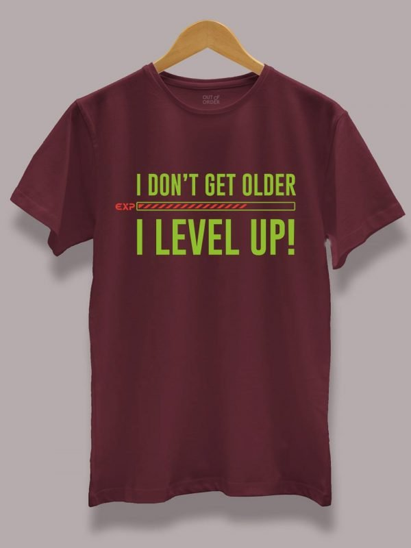 Buy I Level Up Birthday T-shirt displayed on a hanger