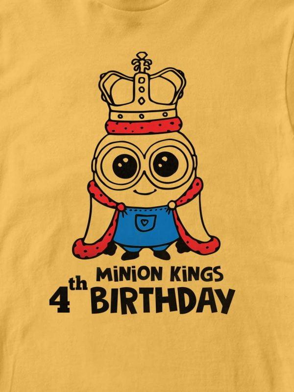 close up of Minion King's Birthday Kid's T-shirt design