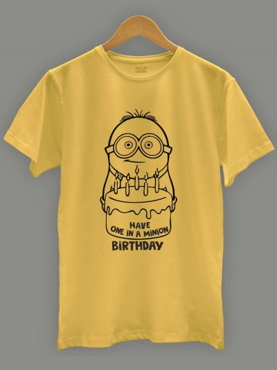 One in a Minion Birthday Men's T-shirt displayed on a hanger