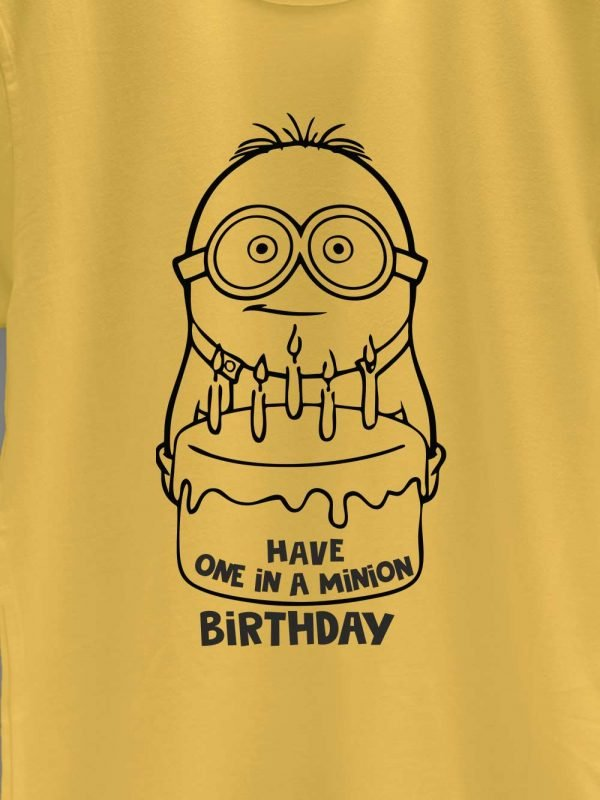 close up of one in a minion birthday t-shirt design