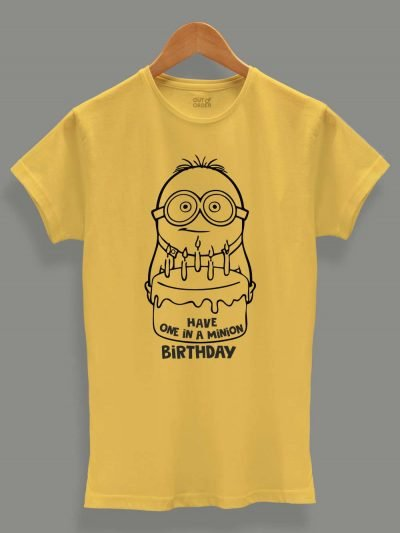 Buy One in a Minion Birthday Women's T-shirt displayed on a hanger