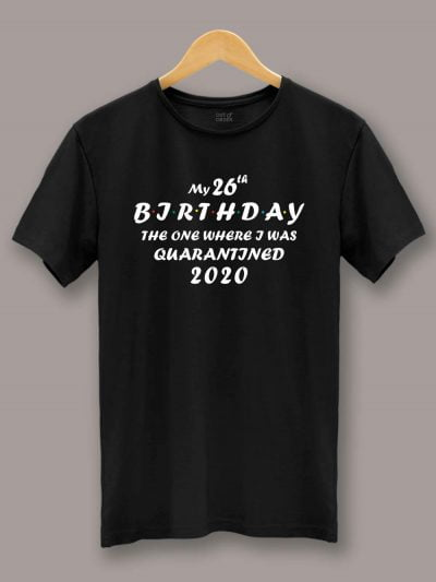 Buy The One Where Birthday T-shirt displayed on a hanger