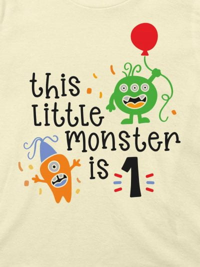 closeup of this little monster kid's t-shirt