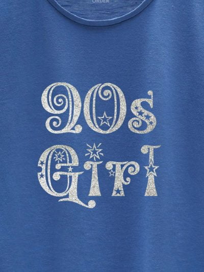 close up of Glitter Print 90's Birthday Girl T-shirt design
