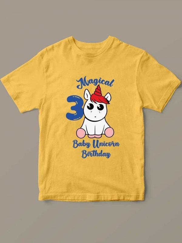 Yellow Baby Unicorn Birthday T-shirt for sale