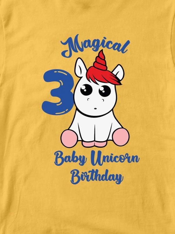 close up of Baby Unicorn Birthday T-shirt
