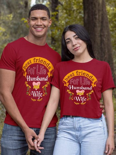 Couple wearing Best Friend for Life Couple T-shirt for sale