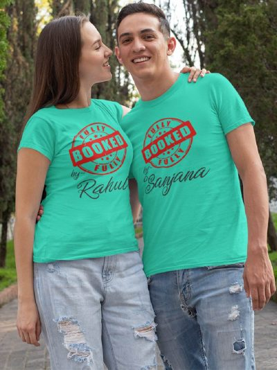 Couple wearing Booked by Him Her Couple T-shirt for sale