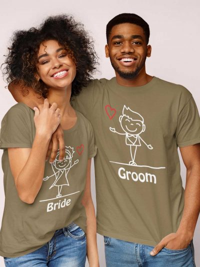 Couple wearing Bride and Groom Cartoon Couple Tees, available for sale