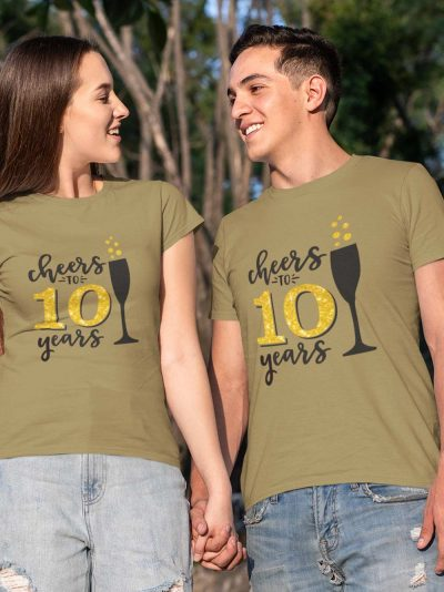 Couple wearing Couple wearing cheers to many years anniversary t-shirt for sale