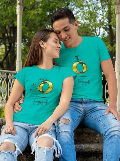 Couple wearing Engaged Couple T-shirt for sale