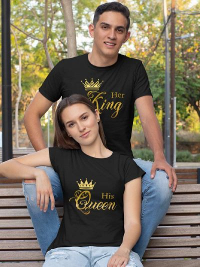 couple wearing Her King His Queen Couples T-shirt available for sale