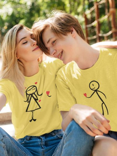 Couple wearing Proposal Couple T-shirt, available for sale.
