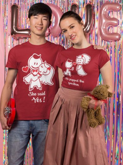 She Said Yes Couple T-shirt for Sale
