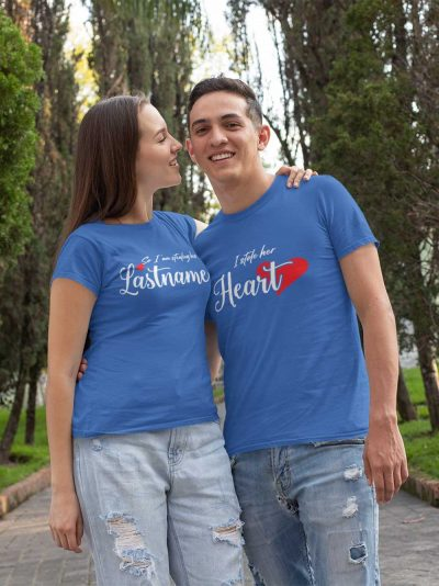 Couple wearing I Stole Her Heart T-shirt for Couple, available for sale