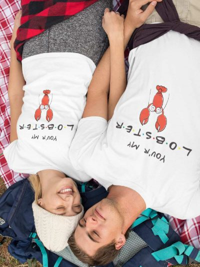 couple wearing Friends You are My Lobster Couple T-shirt for sale