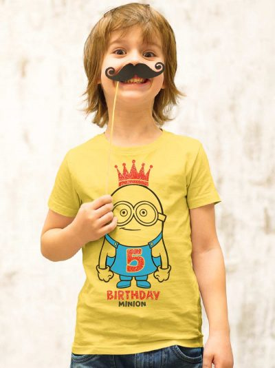 Boy wearing Birthday Minion Kid's t-shirt, available for sale