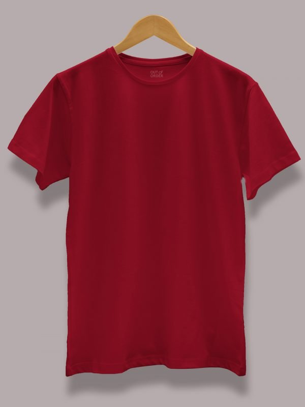 Men's Maroon T-shirt displayed on a hanger for sale