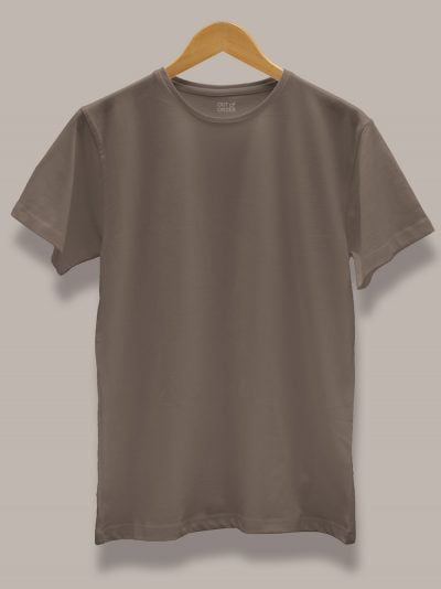 Men's Mud Colour T-shirt displayed on a hanger available for sale