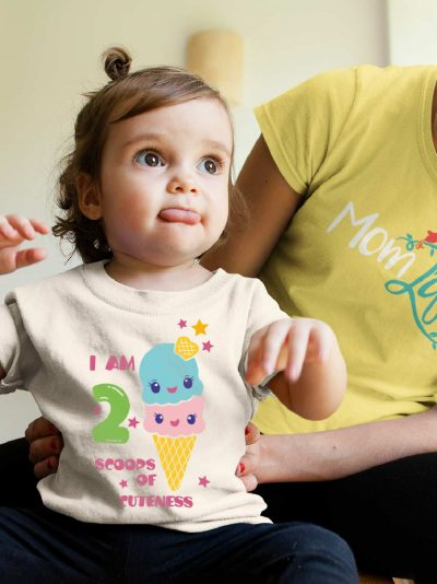 Little Girl wearing Scoops of Cuteness Kid's Birthday T-shirt for sale