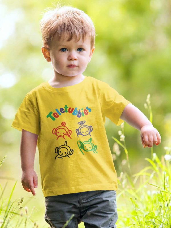 Kid wearing Teletubbies T-shirt for Kids, available for sale