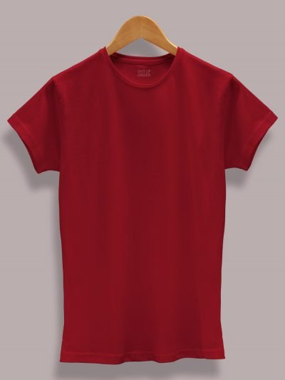 Women's Maroon T-shirt displayed on a hanger available for sale