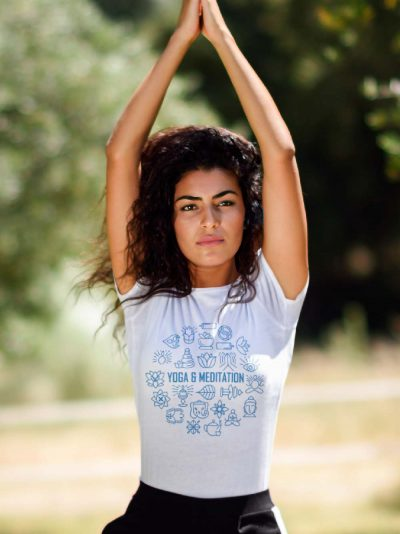 Yoga and Meditation T-shirt for Women white t-shirt
