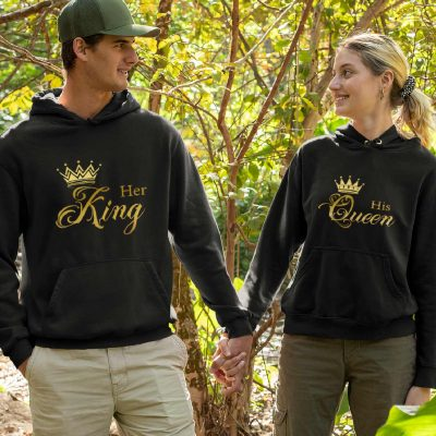 Couple wearing Couple Hoodies King and Queen for Sale