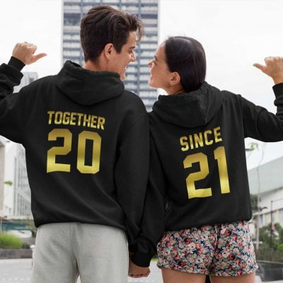 couple wearing Together Since Couple Hoodies available for sale