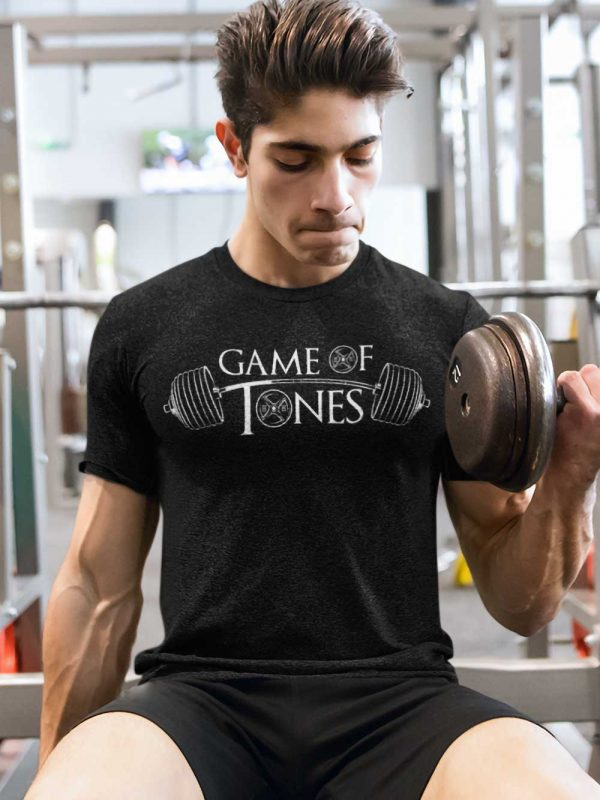 Man working out wearing Game of Tones Gym T-shirt
