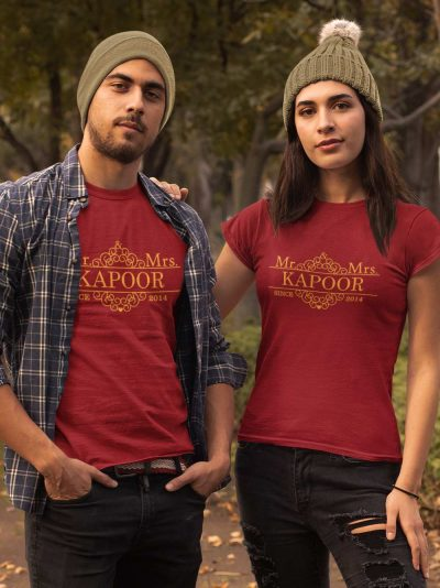 Customized Mr. and Mrs. Since Couple T-shirt