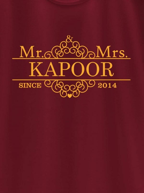 close up of Customized Mr. and Mrs. Since Couple T-shirt