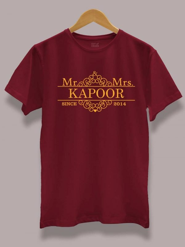 Customized Mr. and Mrs. Since Couple T-shirt for Men
