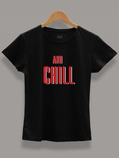 Buy Netflix and Chill T-shirt for Couple zoom 2