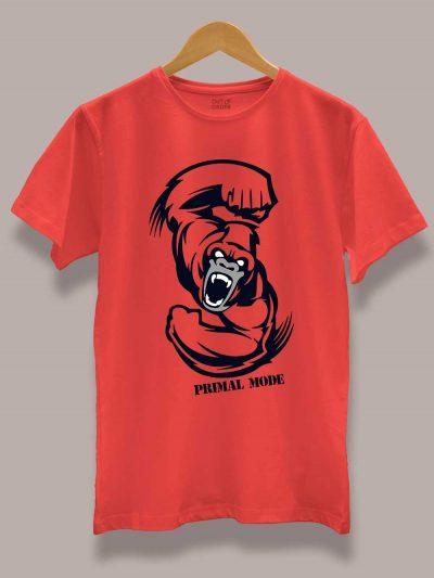 Primal Mode Gym T-shirt displayed on a hanger